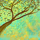 Decorative Tree Design in Aqua and Golden by Jessielee72