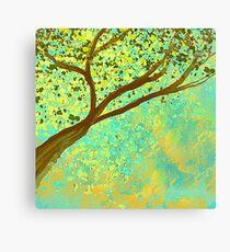 Decorative Tree Design in Aqua and Golden Canvas Print