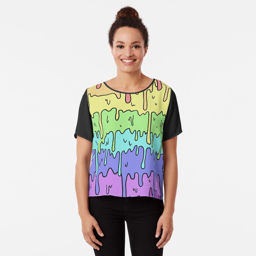 Pastell Kawaii schmelzender Regenbogen-Entwurf Chiffon Top
