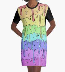 Pastell Kawaii schmelzender Regenbogen-Entwurf T-Shirt Kleid