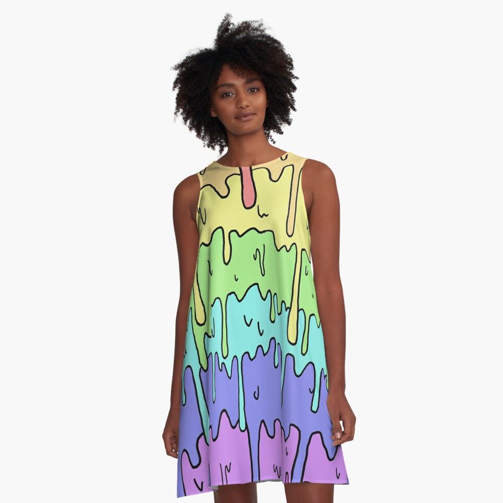 Pastell Kawaii schmelzender Regenbogen-Entwurf A-Linien Kleid