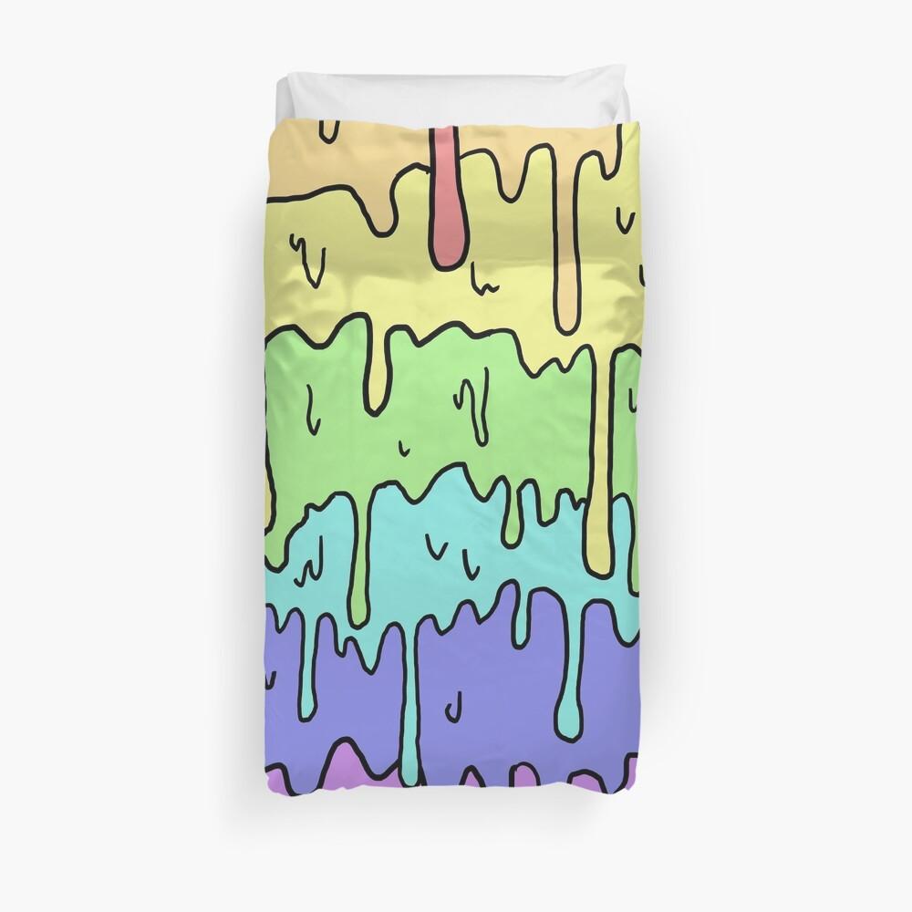Pastell Kawaii schmelzender Regenbogen-Entwurf Bettbezug