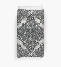 Charcoal Lace Pencil Doodle Duvet Cover