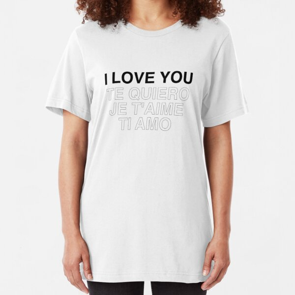"""""""I LOVE YOU"""" and Translations Type Poster Slim Fit T-Shirt"""