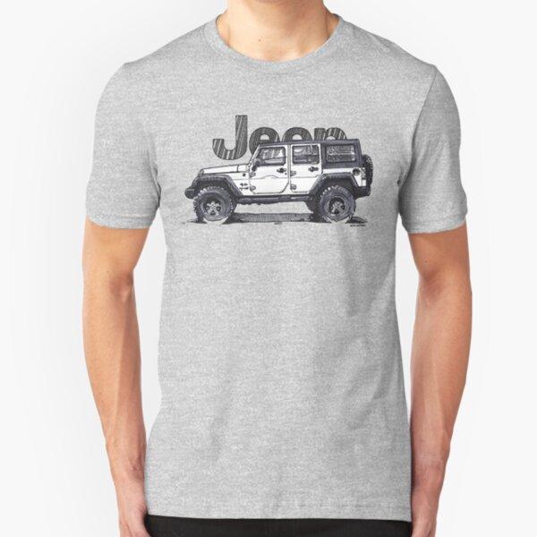 4dr Jk Unlimited - White Slim Fit T-Shirt