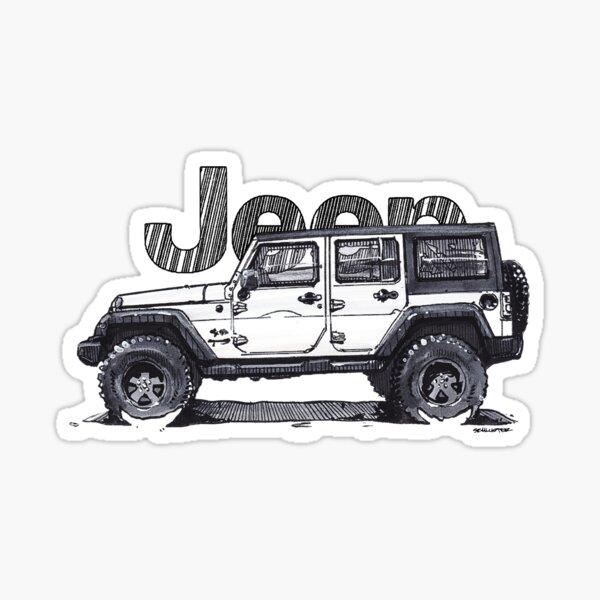 4dr Jk Unlimited - Blanc Sticker