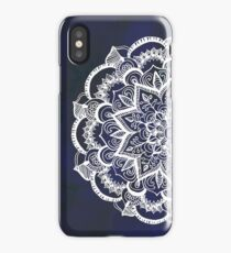 White Feather Mandala on Navy iPhone Case/Skin