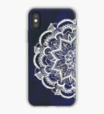 White Feather Mandala on Navy iPhone Case