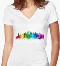 New York City Skyline Women's Fitted V-Neck T-Shirt