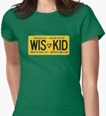 Wis-Kid Yellow License Tailgatin' Bear Hatin' Brats Grillin' Beers Swillin' Women's Fitted T-Shirt