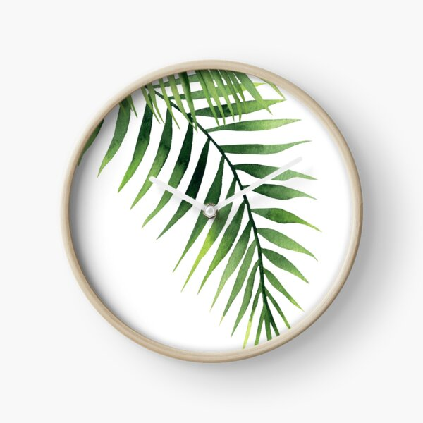 Palm leaves. Clock