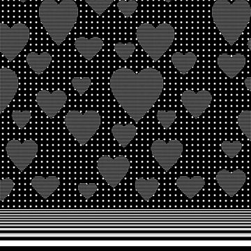 Black and White Polka Dot Hearts and Stripes by jocelynsart