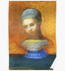 HD Small Bust Of A Young Girl, by Odilon Redon  (1884) High Definition Poster