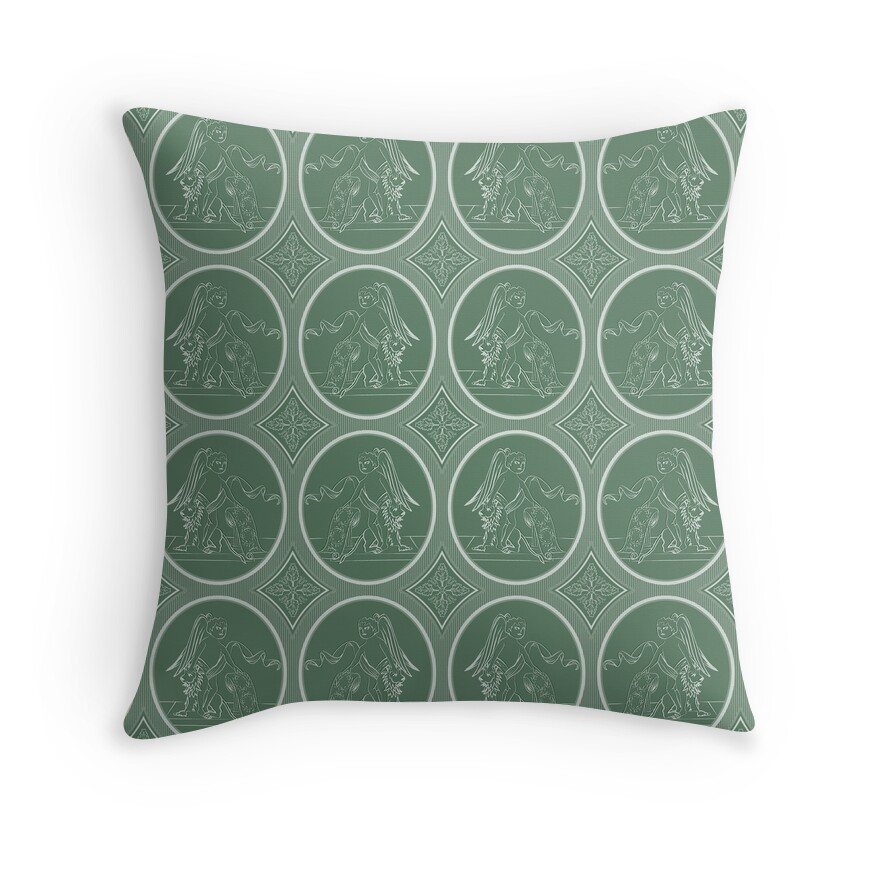 Grisaille Fern Green Neo-Classical Ovals