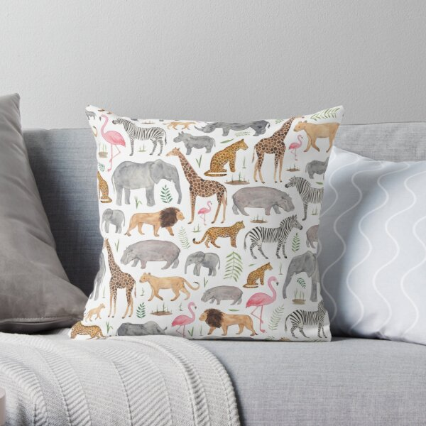 Safari Animals Throw Pillow