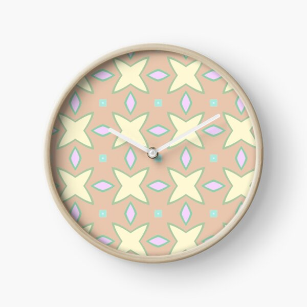 designs abstraction symmetry lines seamless colorful repeat pattern Clock