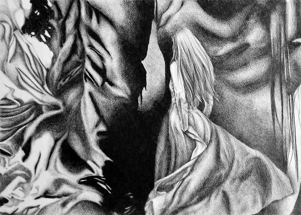 Dragonstone, 2018, 50-70 cm, graphite crayon on paper by oanaunciuleanu