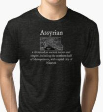 A:Assyrian:English:Wear Your Dictionary:White Text Tri-blend T-Shirt