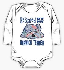 Rescued by My Norwich Terrier Terriers Dogs Puppy Pets Puppies Rescue Dog Pet Gift Idea Blue Jackie Carpenter Adopt Adoption Best Seller One Piece - Long Sleeve