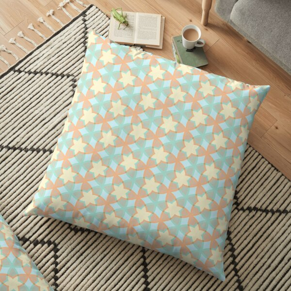 imagination lines the structure of the flower star seamless colorful repeat pattern Floor Pillow