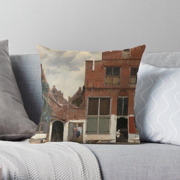 The Little Street - Johannes Vermeer Throw Pillow