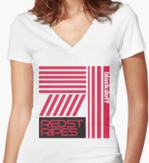 red stripped Women's Fitted V-Neck T-Shirt