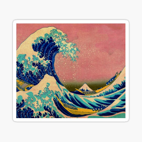 The Great Wave in Pink Japanese Art Sticker