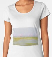 Pink and green hues nature abstract of pink flamingos in wetland Namibia. Women's Premium T-Shirt