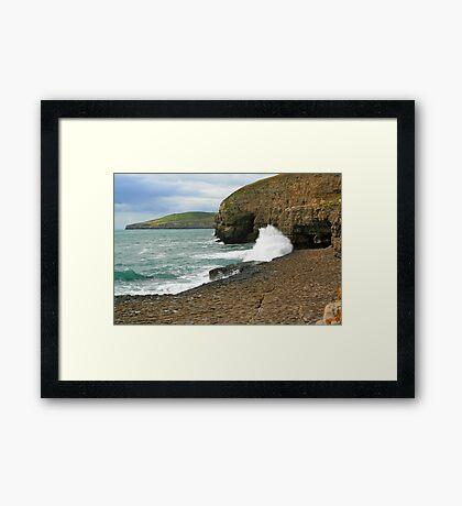 Waves On The Ledge Framed Print