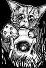 Zombie Kitten and Skull for Inktober by byronrempel