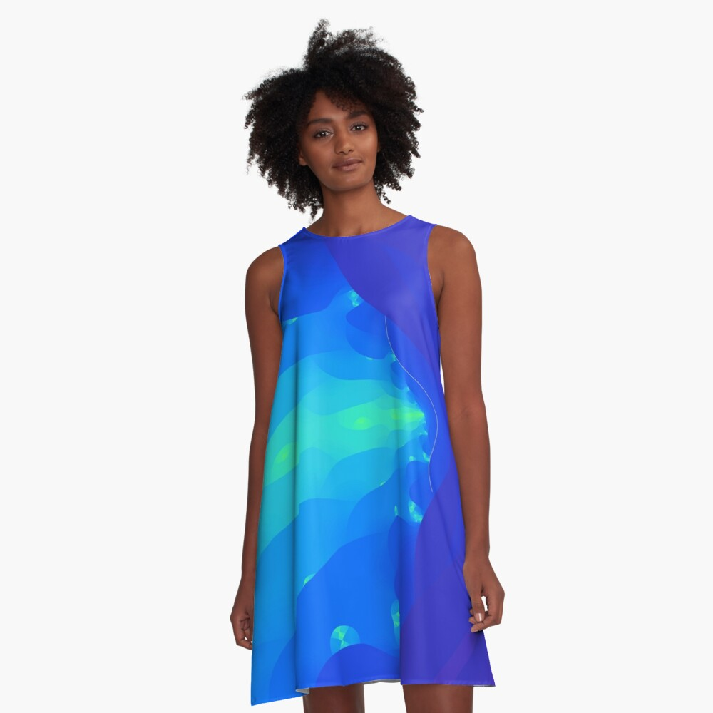 Fractal Breath the Blue Sea Design at Green Bee Mee A-Line Dress