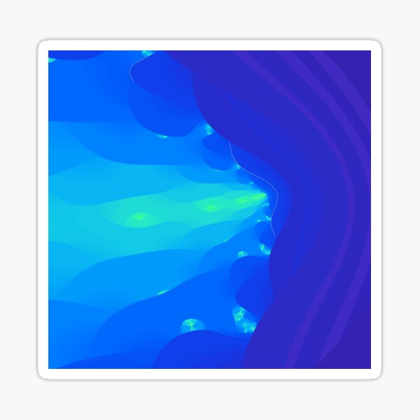 Fractal Breath the Blue Sea Design at Green Bee Mee Sticker