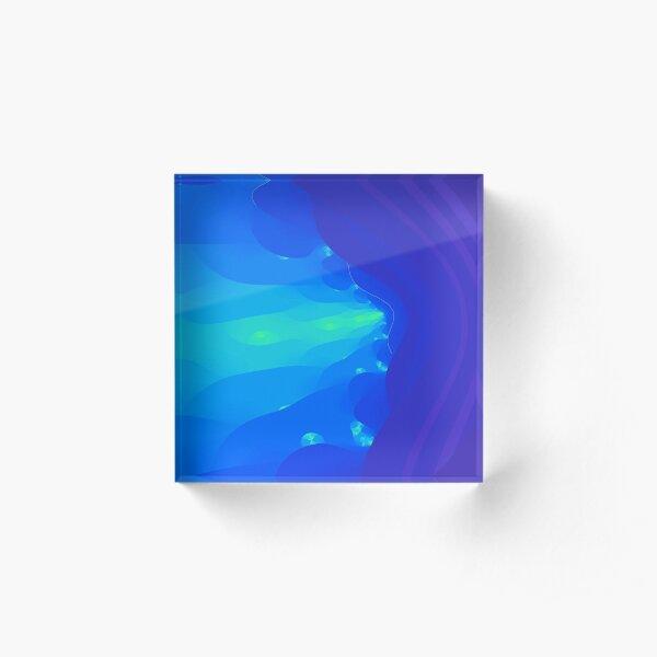 Fractal Breath the Blue Sea Design at Green Bee Mee Acrylic Block
