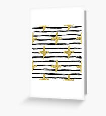Gold glitter cross and black stripe Greeting Card