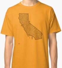 CALIFORNIA Maze Print | Hand-Drawn Design | San Francisco to Lake Tahoe Classic T-Shirt