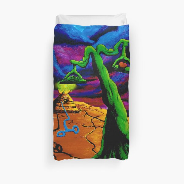 "Psychedelic Surrealism Trippy Art titled  ""The Balance"" by Vincent Monaco.  Duvet Cover"
