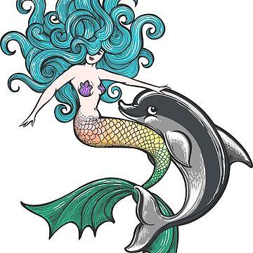 Mermaid with Dolphin Baby by devaleta