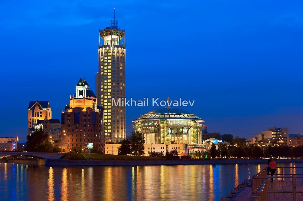 Moscow Riverside at Night by Mikhail Kovalev