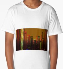 Landscape city sunset digital illustration Long T-Shirt