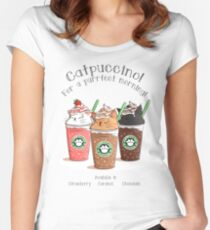 Catpuccino! For a purrfect morning! Women's Fitted Scoop T-Shirt