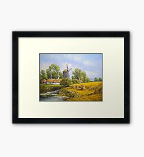 Oil paintings rural landscape. Fine art. Framed Print