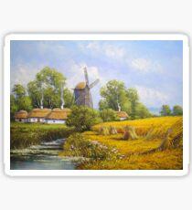 Oil paintings rural landscape. Fine art. Sticker
