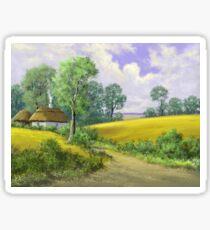 Digital paintings rural landscape. Fine art. Sticker
