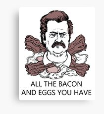 Ron Swanson Bacon And Eggs Canvas Print