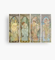 HD. The times of the day (1899) serie Alphonse Mucha HIGH DEFINITION Metal Print