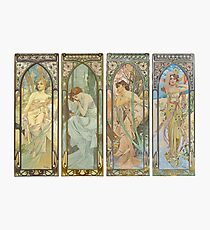 HD. The times of the day (1899) serie Alphonse Mucha HIGH DEFINITION Photographic Print