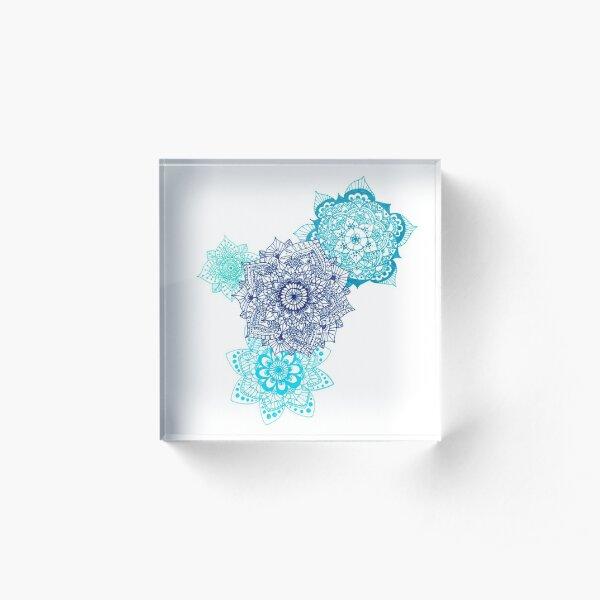 Quadruple Blue Mandalas Acrylic Block