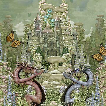 Dragons having tea in the castle garden by seahorsieus