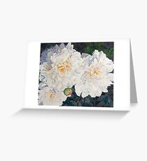 White Peonies Watercolor Greeting Card