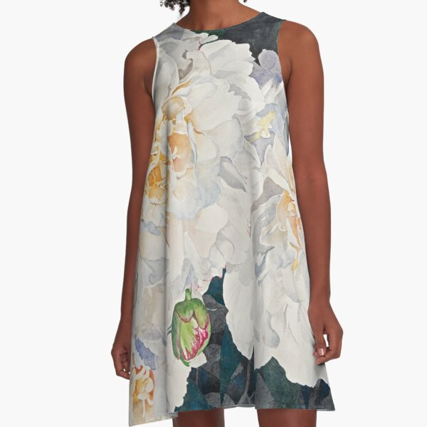 White Peonies Watercolor A-Line Dress